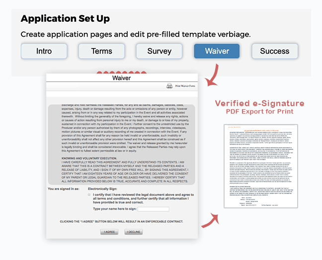 e-Signature Liability Waiver is a part of the required application process - online waiver signature that exports to pdf